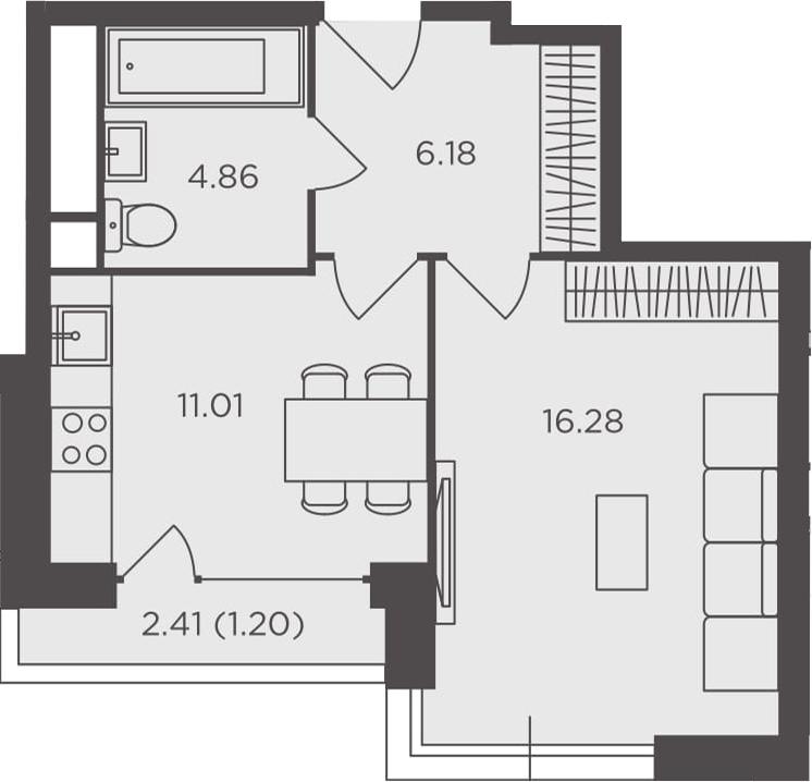 1-к.кв, 39.53 м², 27 этаж