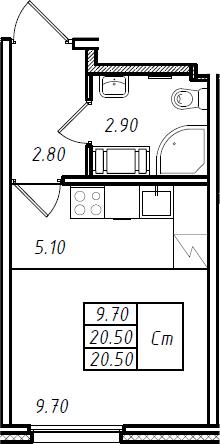 Студия, 20.5 м², 6 этаж