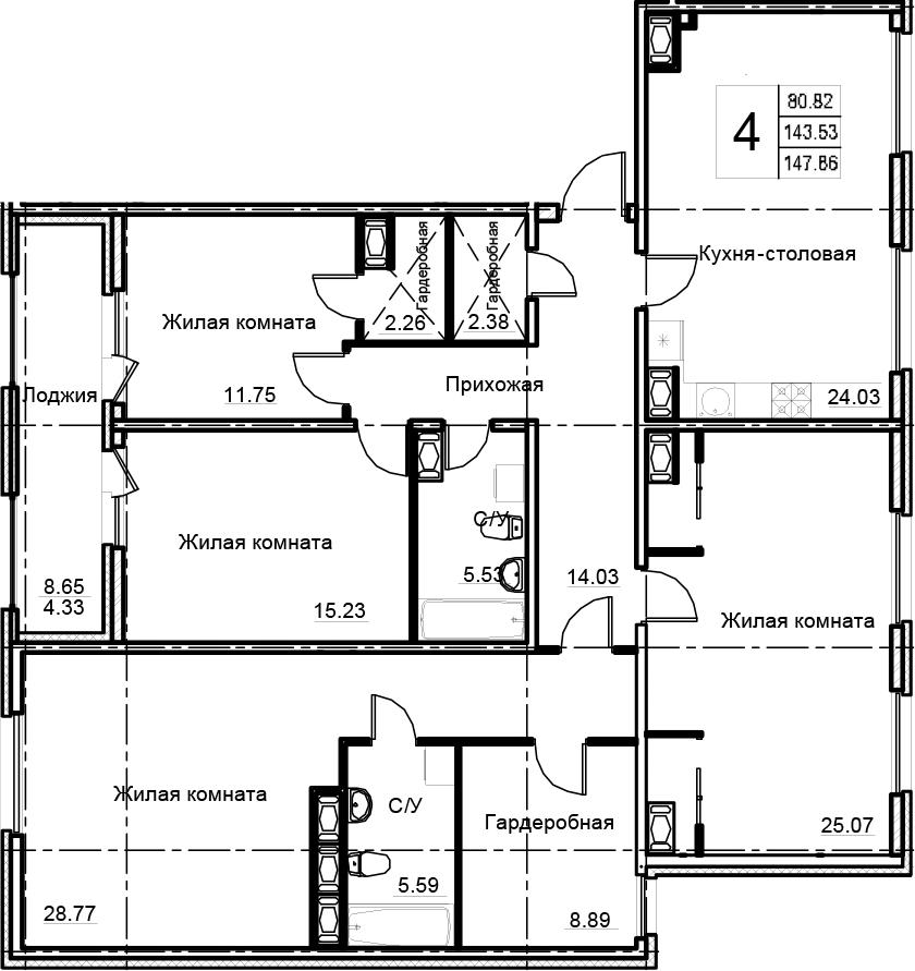 4-к.кв, 147.86 м²