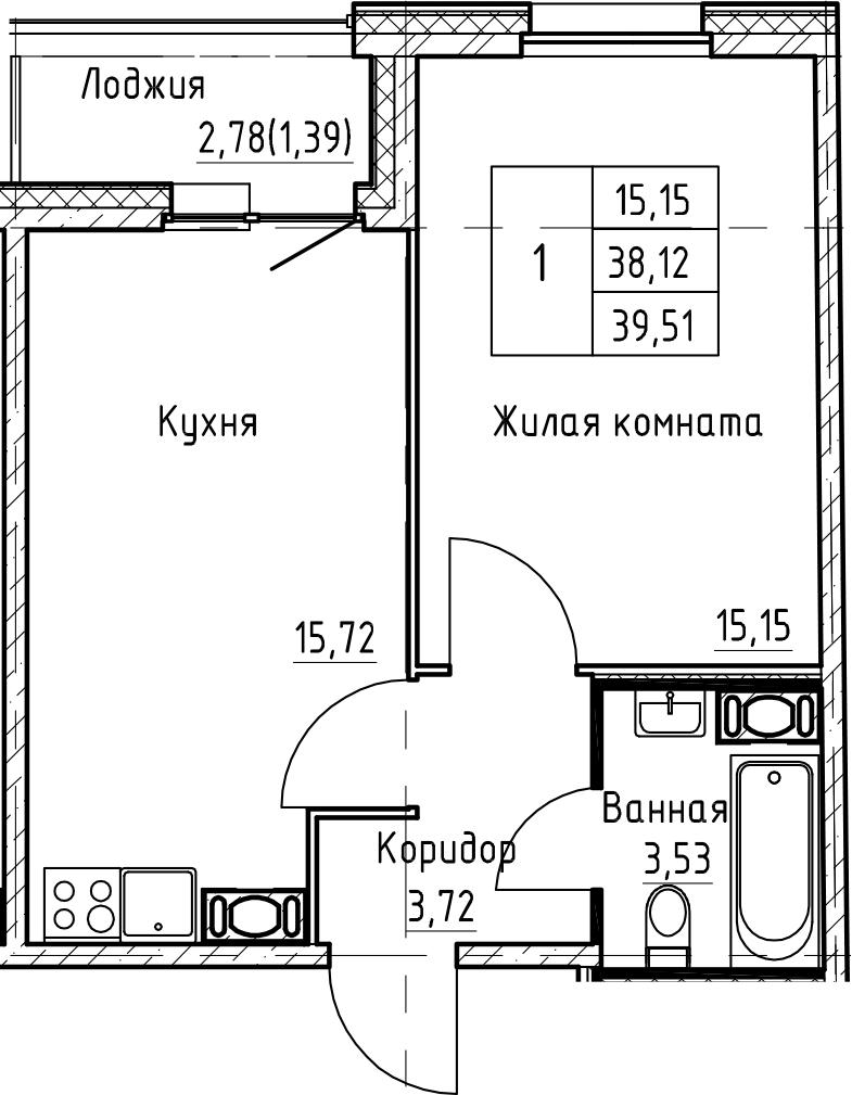 2Е-к.кв, 39.51 м², 8 этаж