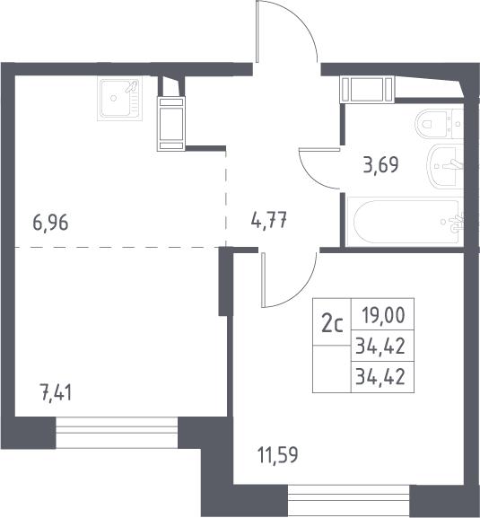 2Е-комнатная, 34.42 м²– 2