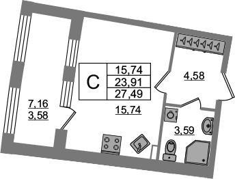 Студия, 23.91 м², 2 этаж