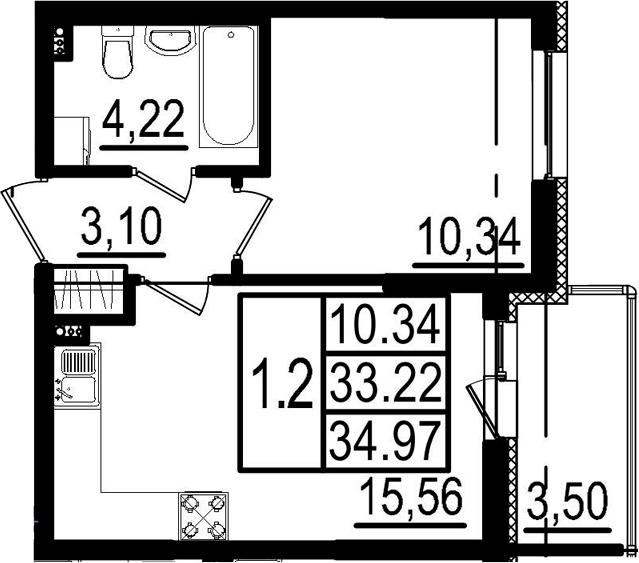 2-к.кв (евро), 36.72 м²