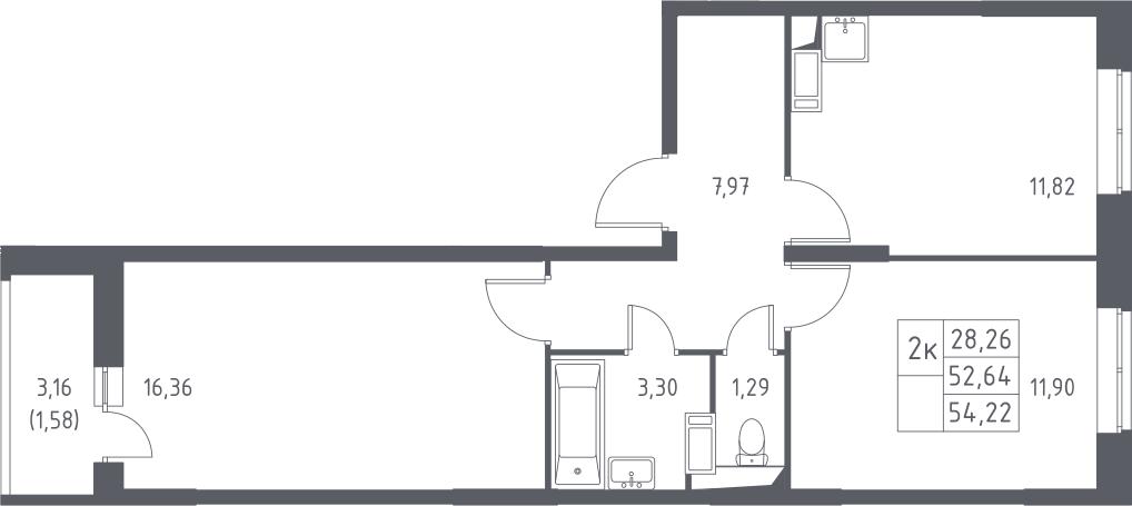 2-комнатная, 54.22 м²– 2