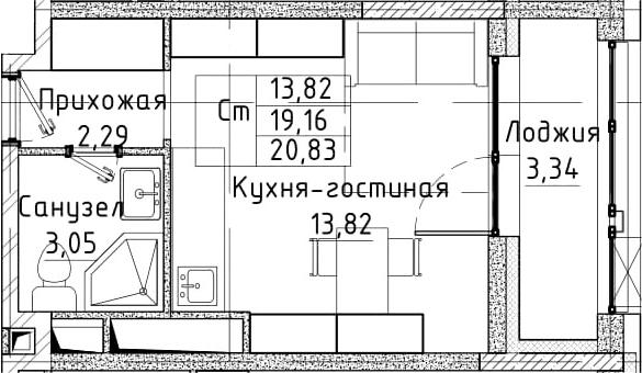 Студия, 20.83 м²– 2