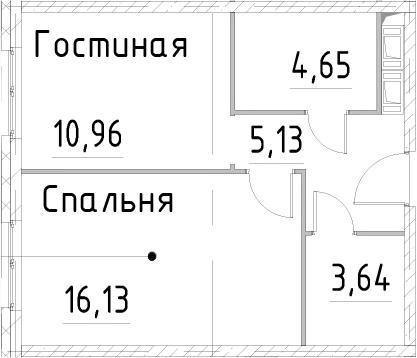1-к.кв, 40.5 м², 24 этаж