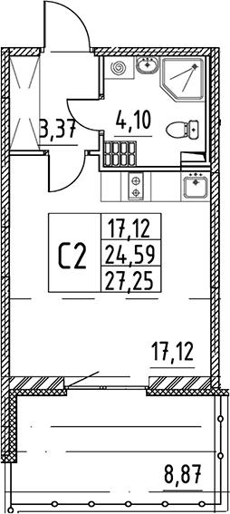 Студия, 24.59 м², 5 этаж