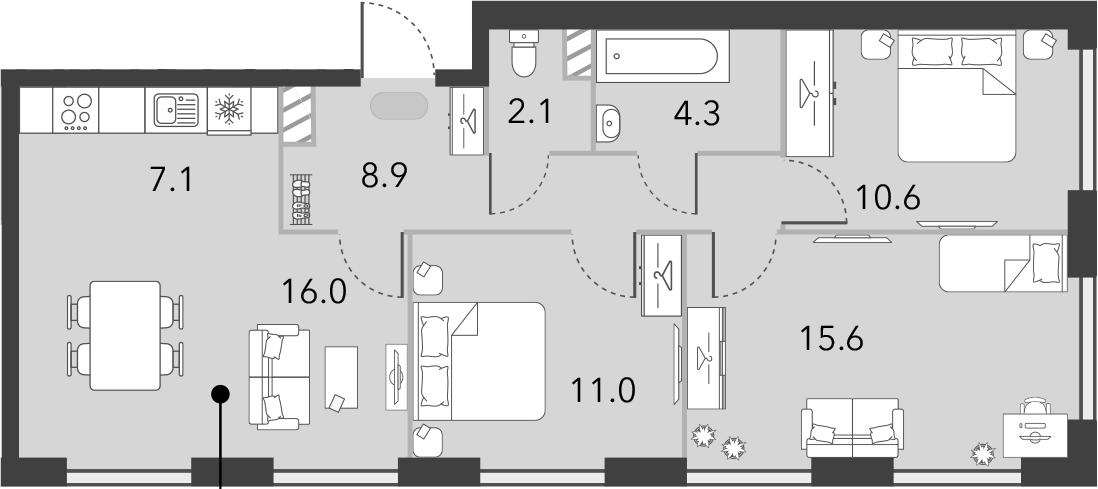 4Е-комнатная, 75.6 м²– 2
