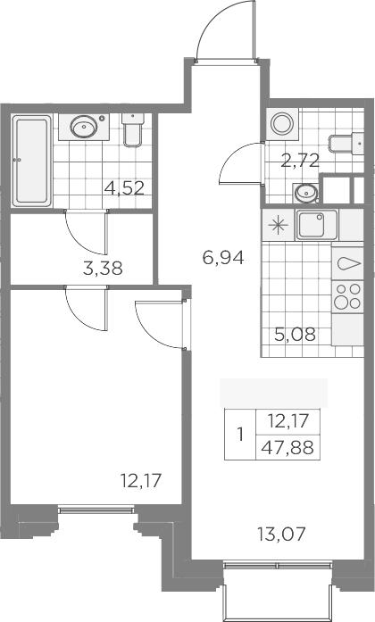 2Е-к.кв, 47.88 м², 8 этаж
