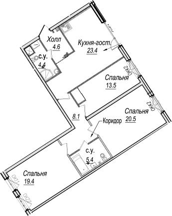 4-к.кв (евро), 99.3 м²