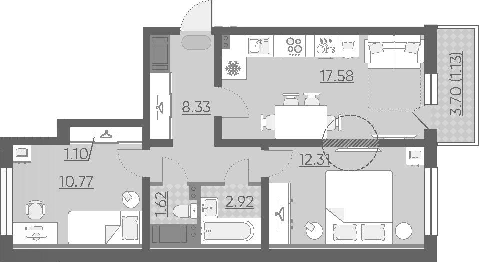 3Е-комнатная квартира, 55.76 м², 2 этаж – Планировка