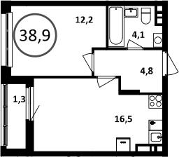 2Е-комнатная, 38.9 м²– 2