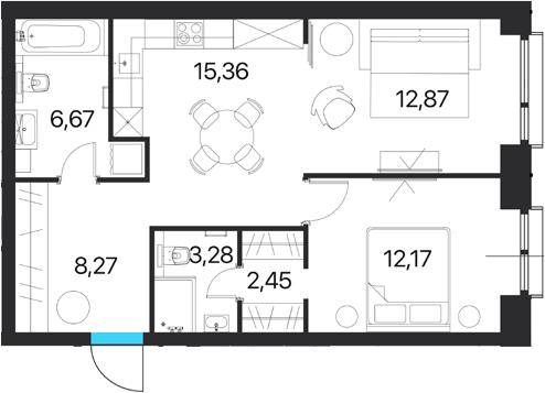 2-комнатная квартира, 61.07 м², 14 этаж – Планировка