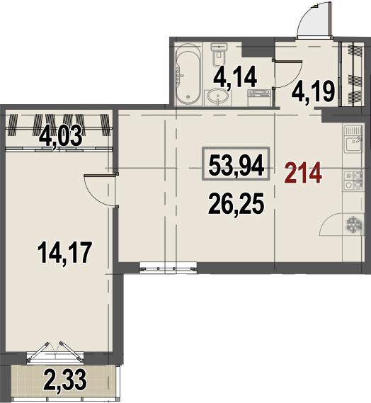 2Е-комнатная, 53.94 м²– 2