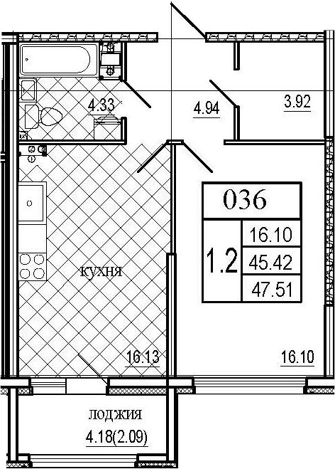 2Е-комнатная, 47.51 м²– 2