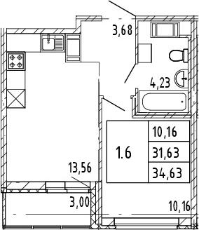 2Е-к.кв, 31.63 м², от 3 этажа