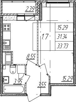 1-комнатная, 31.34 м²– 2
