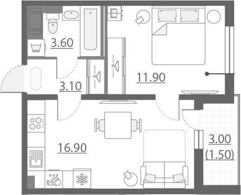 2-к.кв (евро), 38.5 м²