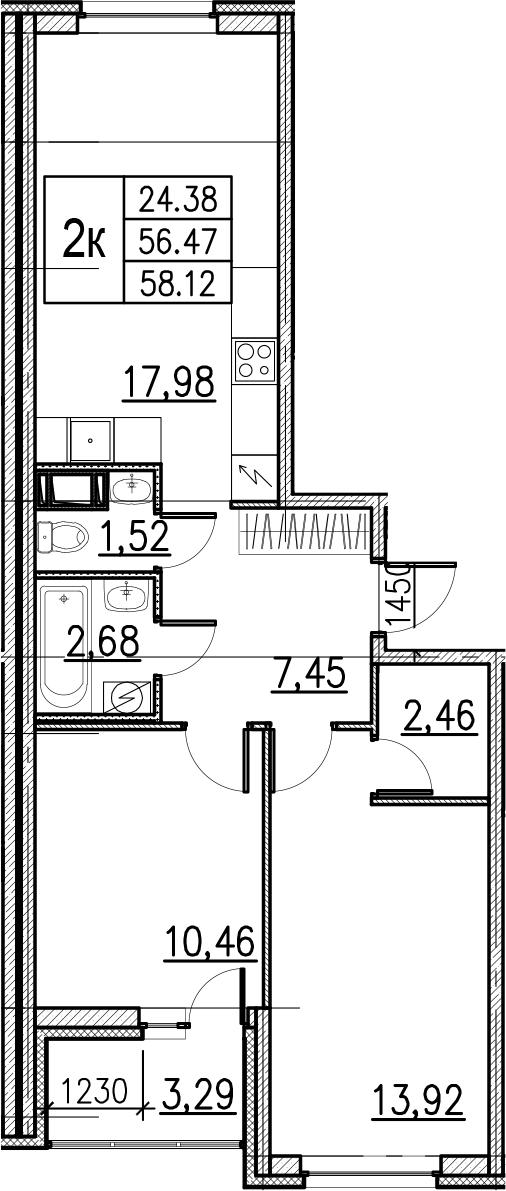 3Е-комнатная, 58.12 м²– 2