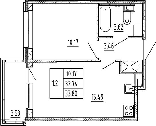 2Е-к.кв, 32.74 м²