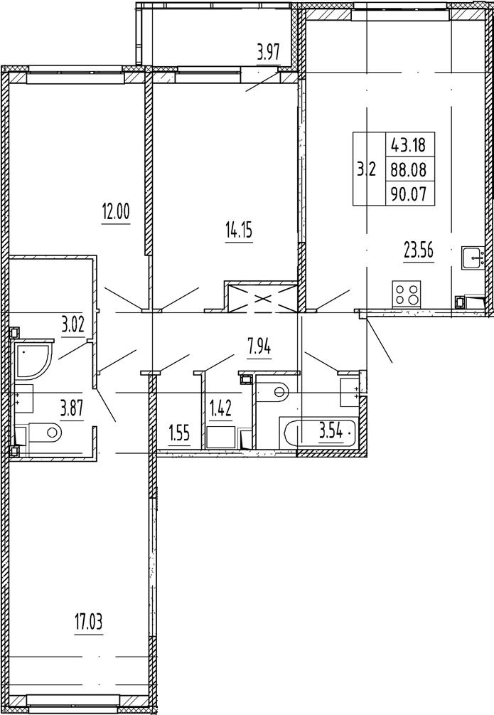 4Е-комнатная, 88.08 м²– 2