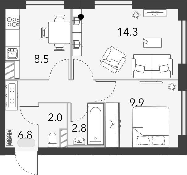 2-к.кв, 44.3 м²
