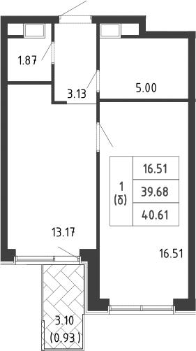 1-к.кв, 43.37 м²