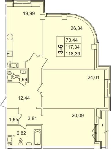 3-к.кв, 119.44 м²