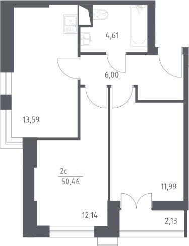 3Е-к.кв, 50.46 м², 2 этаж