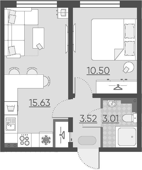 2-к.кв (евро), 32.66 м²