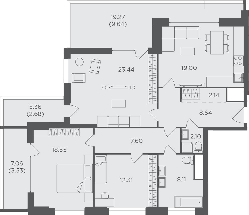 3-к.кв, 117.74 м², 25 этаж