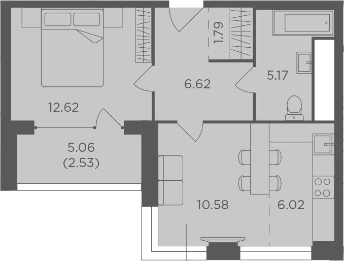 2Е-к.кв, 45.33 м², от 4 этажа