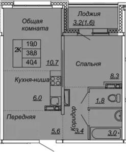 2Е-к.кв, 40.4 м², 2 этаж