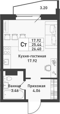 Студия, 26.4 м², от 4 этажа