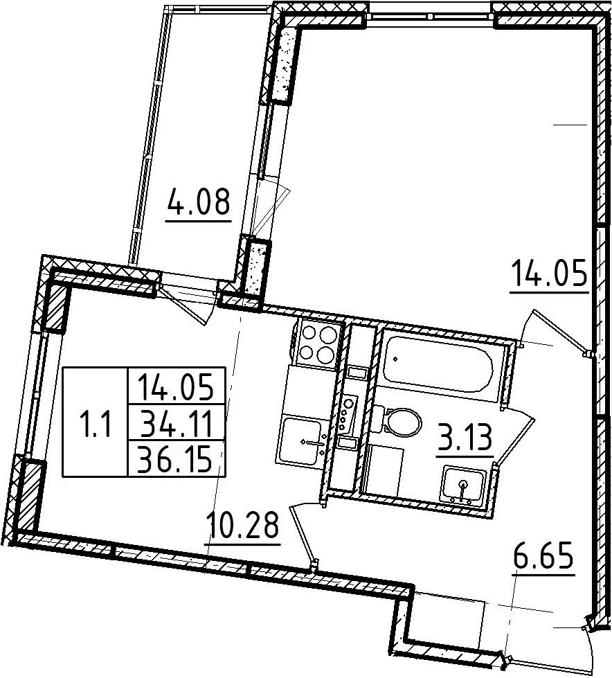 1-к.кв, 36.15 м²