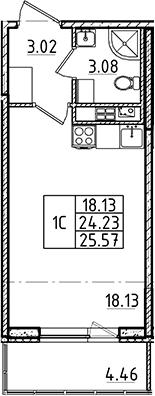 Студия, 24.23 м²– 2