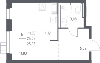 Студия, 25.05 м², от 15 этажа