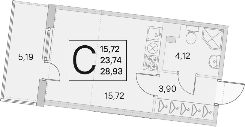 Студия, 23.74 м²– 2