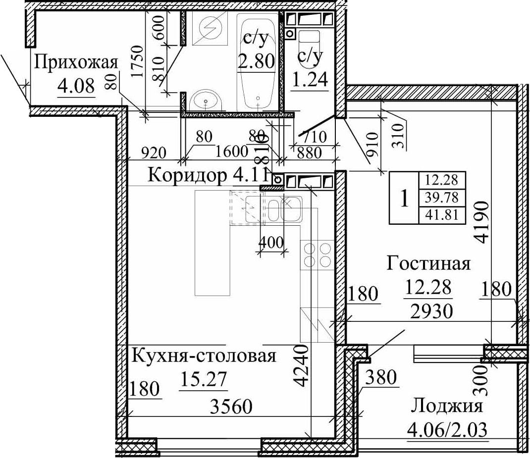 2Е-комнатная, 41.81 м²– 2