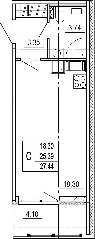 Студия, 25.39 м²– 2