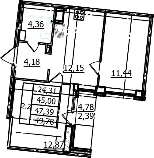 2-к.кв, 45 м², 10 этаж