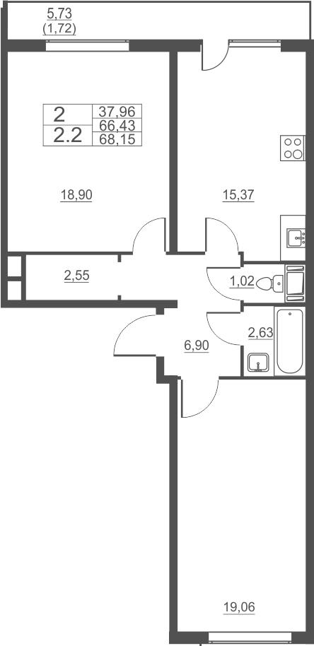 3Е-к.кв, 69.15 м²