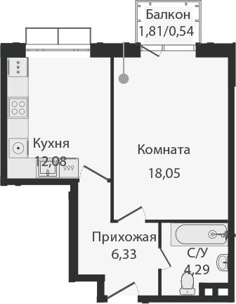 1-комнатная, 41.29 м²– 2