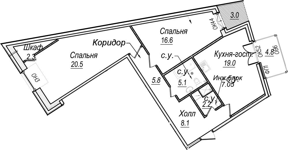 3Е-комнатная квартира, 85.6 м², 7 этаж – Планировка