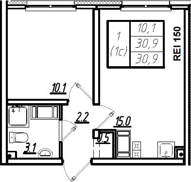 2Е-к.кв, 30.9 м², 2 этаж