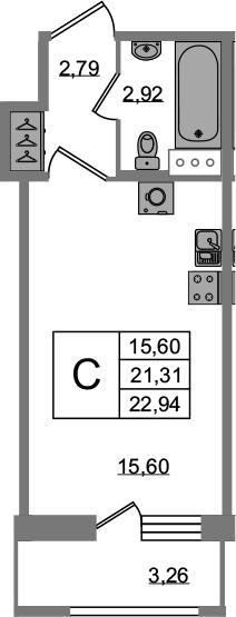 Студия, 22.94 м², от 5 этажа
