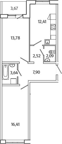 2-к.кв, 60.58 м²