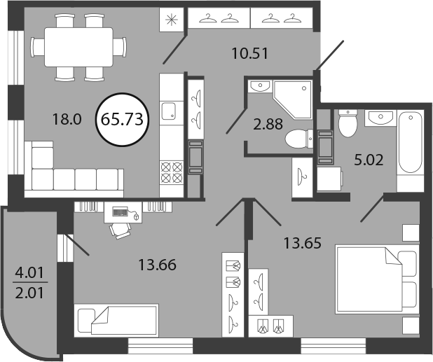 3Е-к.кв, 65.73 м², от 3 этажа
