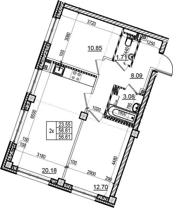 3Е-к.кв, 56.61 м², 3 этаж