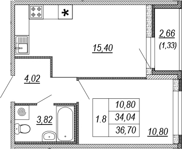 2Е-к.кв, 34.04 м², от 3 этажа